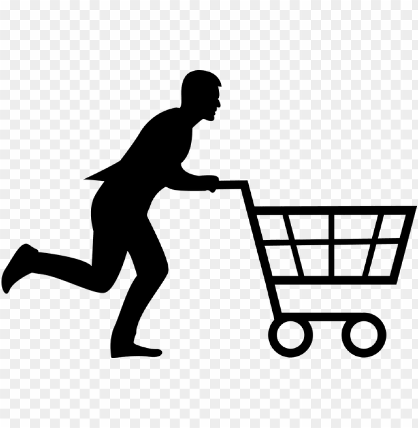 free PNG shopping, cart, man, woman, running, run, buy, store - shopping cart silhouette PNG image with transparent background PNG images transparent
