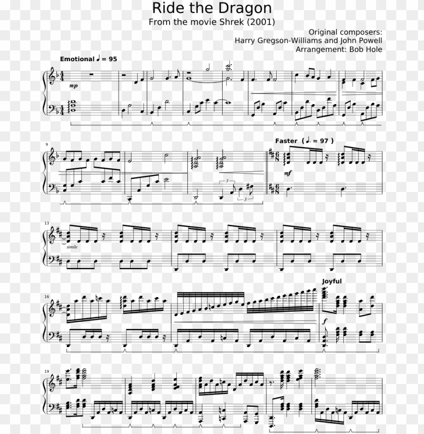 free PNG shrek 2001 ost 'ride the dragon' sheet music for piano - piano PNG image with transparent background PNG images transparent
