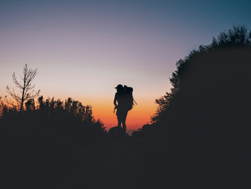 silhouette, backpack, tourist, hill background@toppng.com