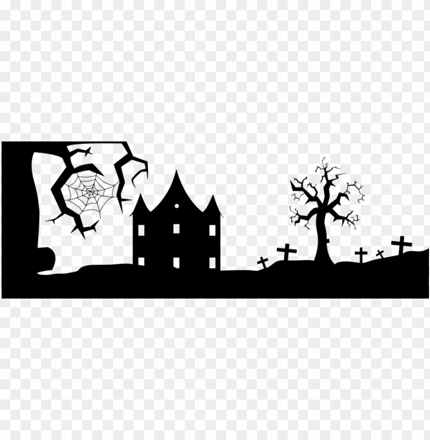 free PNG silhouette cartoon black and white visual arts landscape - silhouette halloween clip art PNG image with transparent background PNG images transparent