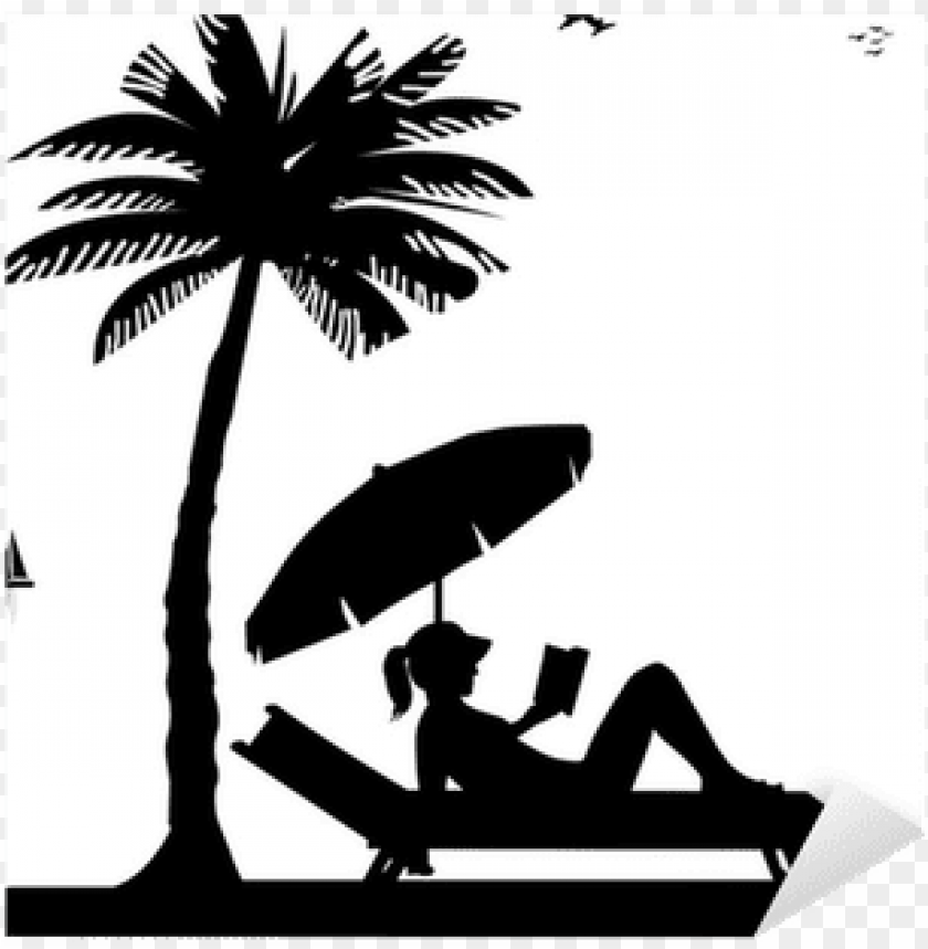 free PNG silhouette of girl reading a book on the beach next - beach silhouette PNG image with transparent background PNG images transparent