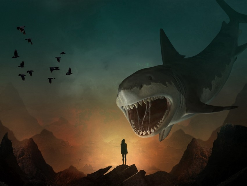 free PNG silhouette, shark, art, mouth, teeth, predator, illusion background PNG images transparent