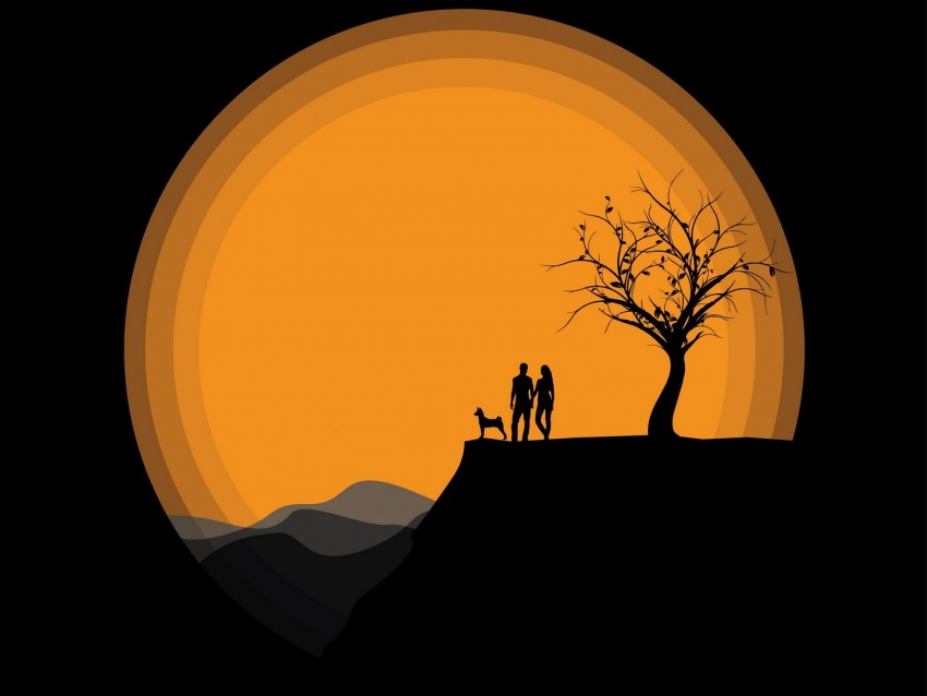 free PNG silhouettes, couple, art, vector, dark background PNG images transparent