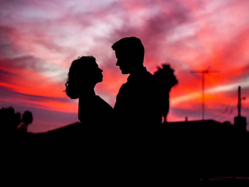 free PNG silhouettes, couple, love, romance, twilight, dark background PNG images transparent