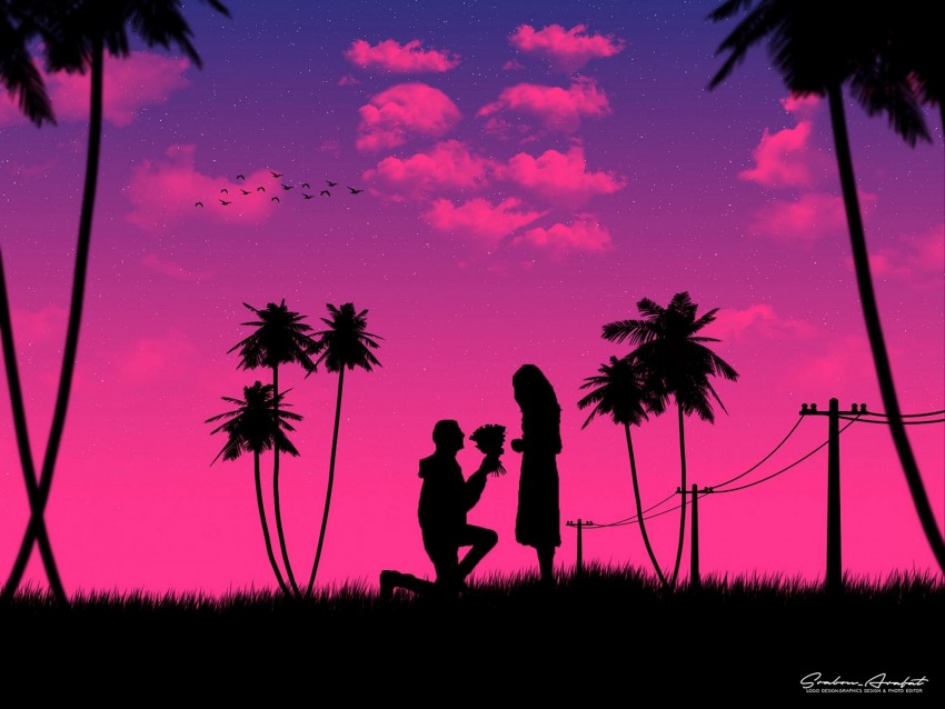 free PNG silhouettes, love, couple, romance, night, art background PNG images transparent