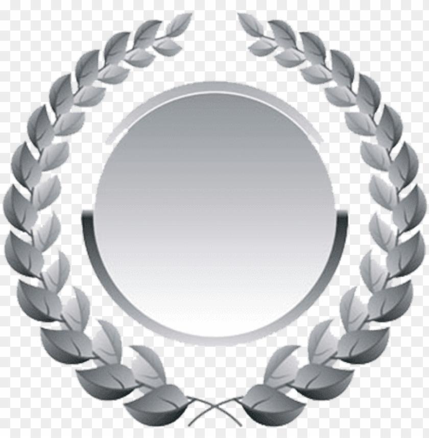 free PNG silver medal - laurel wreath vector PNG image with transparent background PNG images transparent