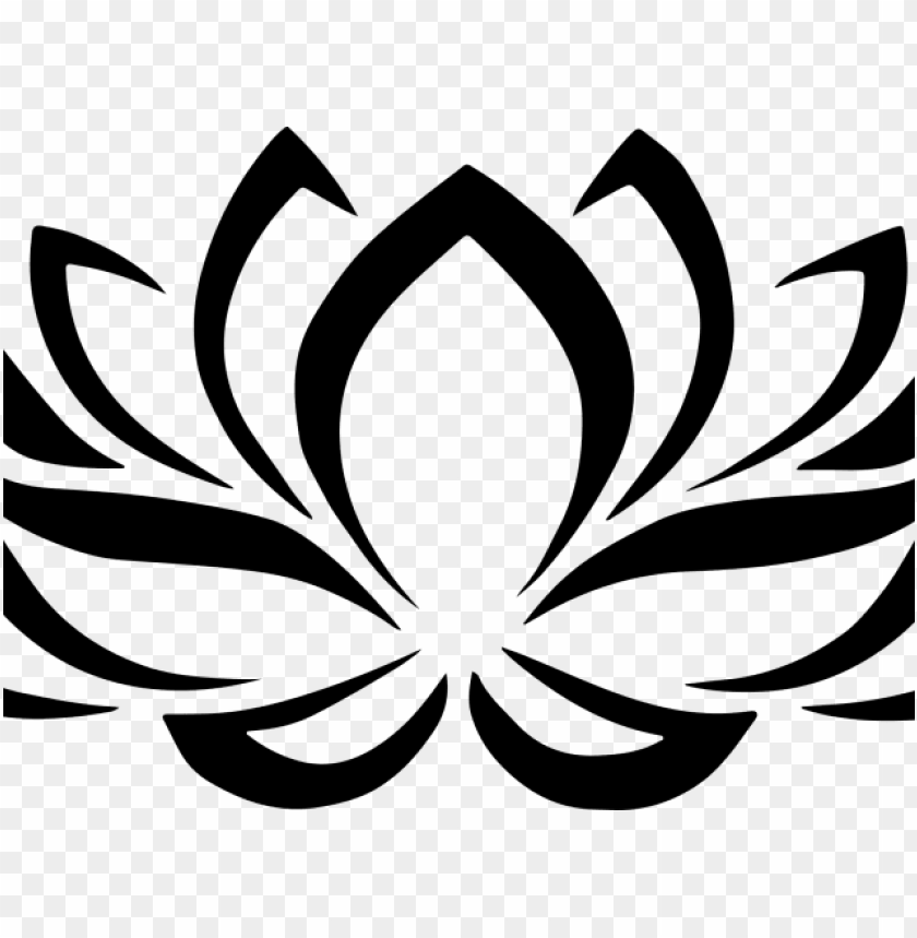 free PNG simple clipart lotus - lotus flower clipart black white PNG image with transparent background PNG images transparent