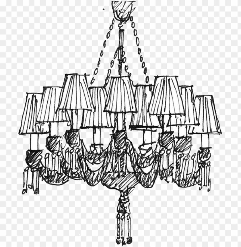 free PNG sketch cristal chandelier - chandelier sketch PNG image with transparent background PNG images transparent
