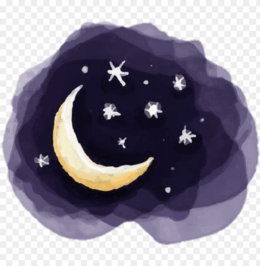 free PNG sky kids drawing night nightsky moon stars watercolor - watercolor moon and stars PNG image with transparent background PNG images transparent