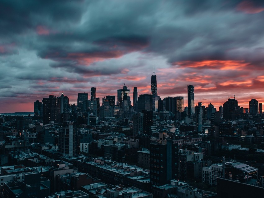 free PNG skyscrapers, twilight, city, clouds, new york background PNG images transparent