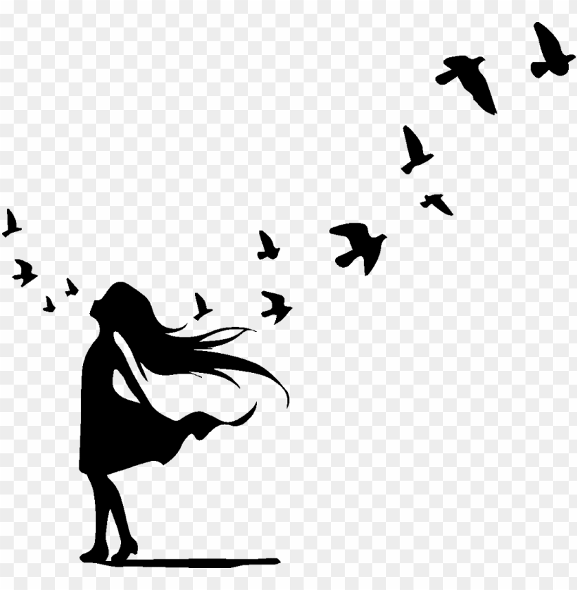 small birds flying cartoon black and white tattoo PNG image