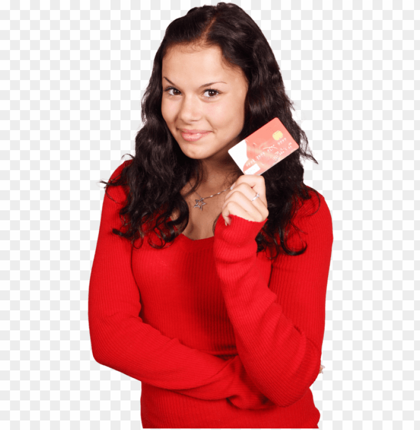 free PNG smiling girl holding credit card png image - girl credit card PNG image with transparent background PNG images transparent