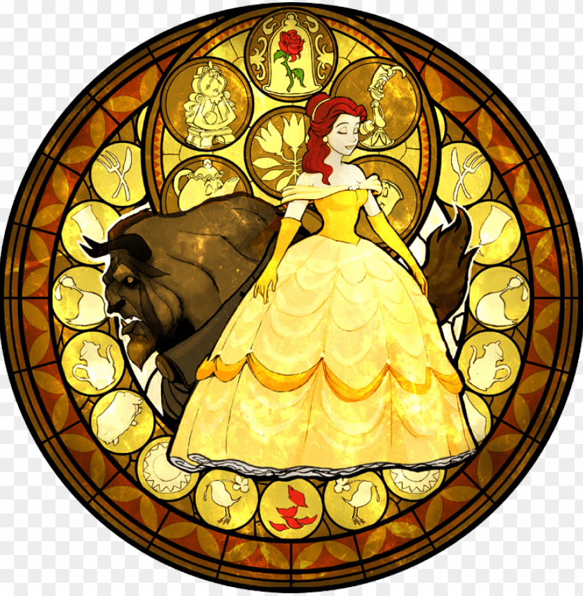 free PNG so far, three disney princesses have been confirmed - beauty and the beast kingdom hearts stained glass PNG image with transparent background PNG images transparent