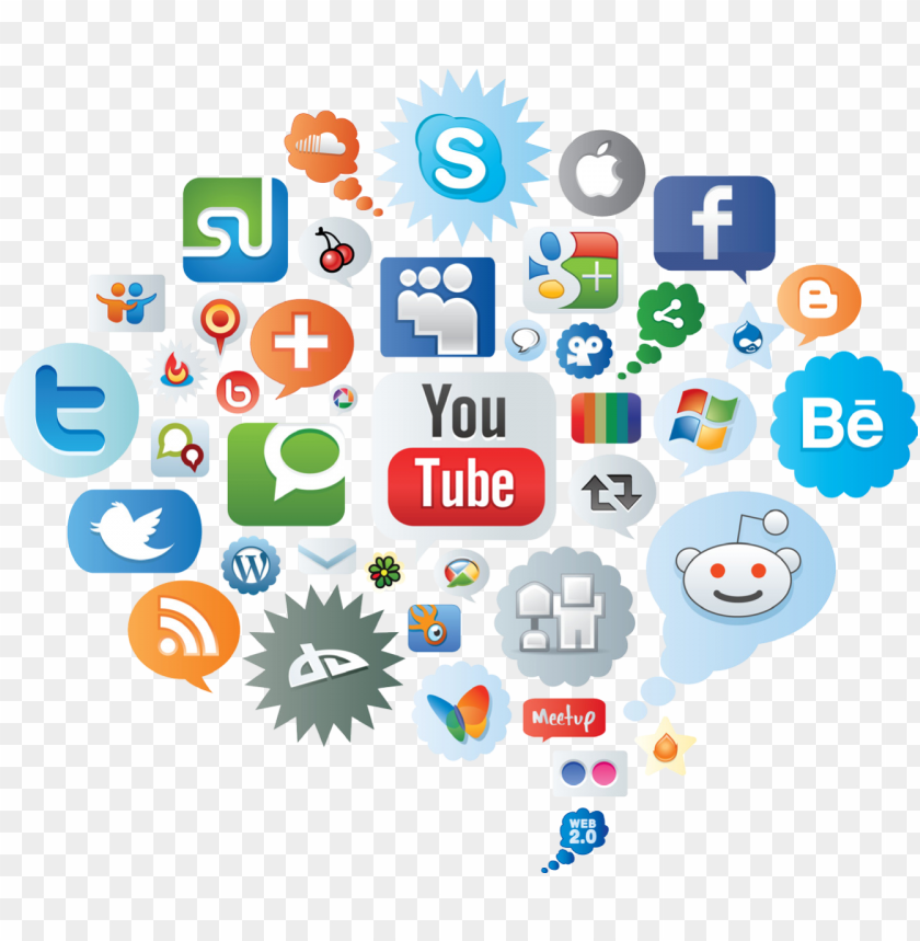 free PNG social media icons cloud - social media icon cloud PNG image with transparent background PNG images transparent