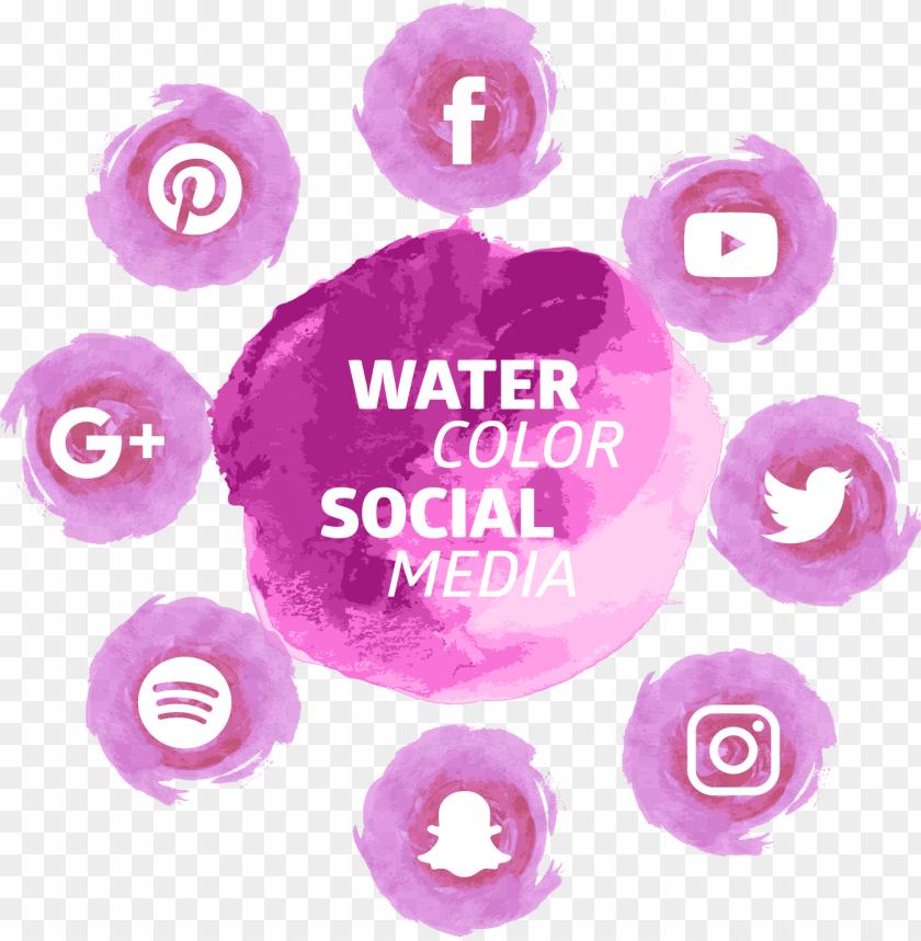 free PNG social mediaicon watercolor tools transprent - social media watercolor icons png - Free PNG Images PNG images transparent