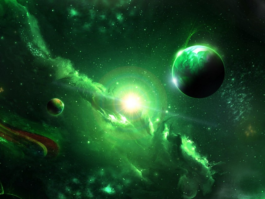 space galaxy planets green universe
