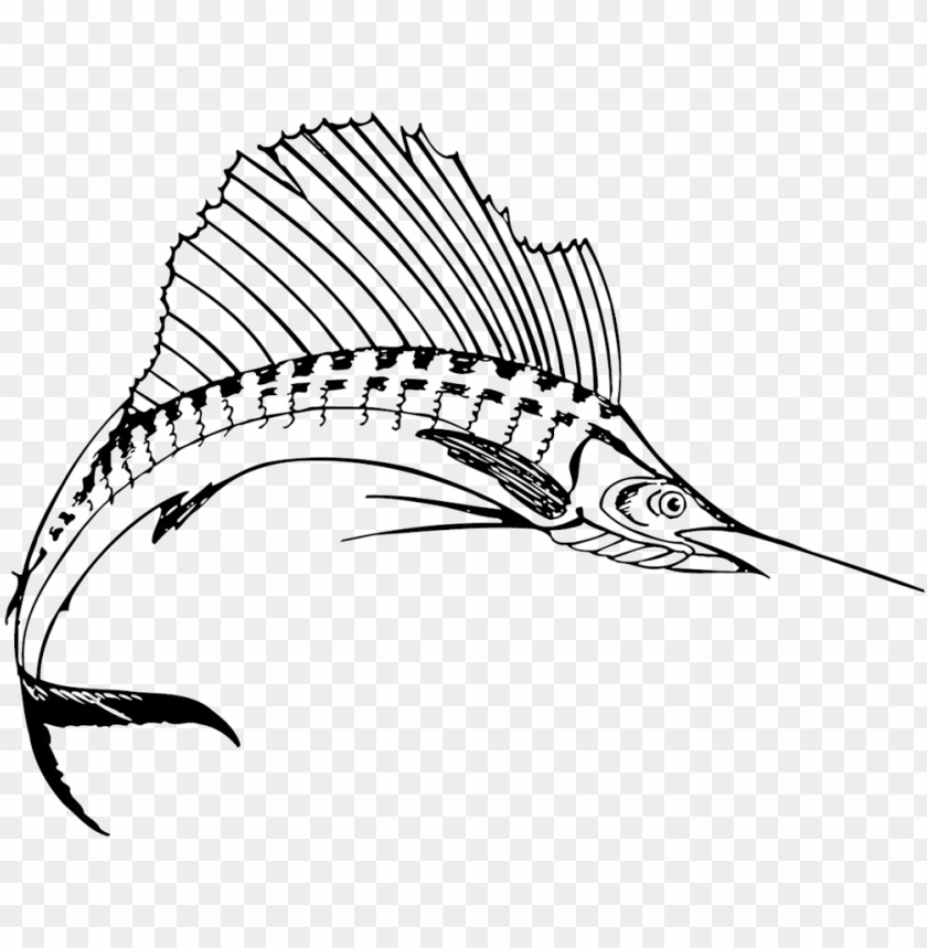 free PNG sport fishing around grenada - sailfish black and white PNG image with transparent background PNG images transparent
