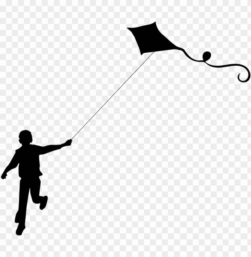 free PNG sport kite silhouette child makar sankranti - kid flying kite silhouette PNG image with transparent background PNG images transparent
