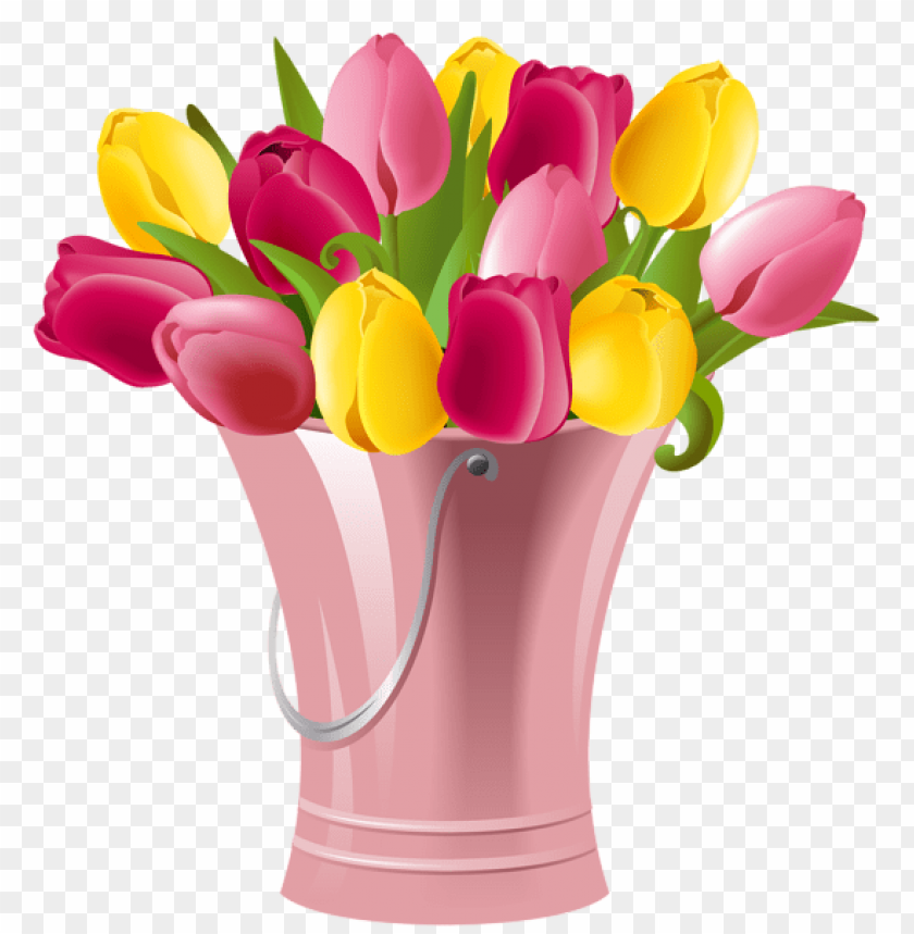 free PNG Download spring bucket with tulips transparent png images background PNG images transparent