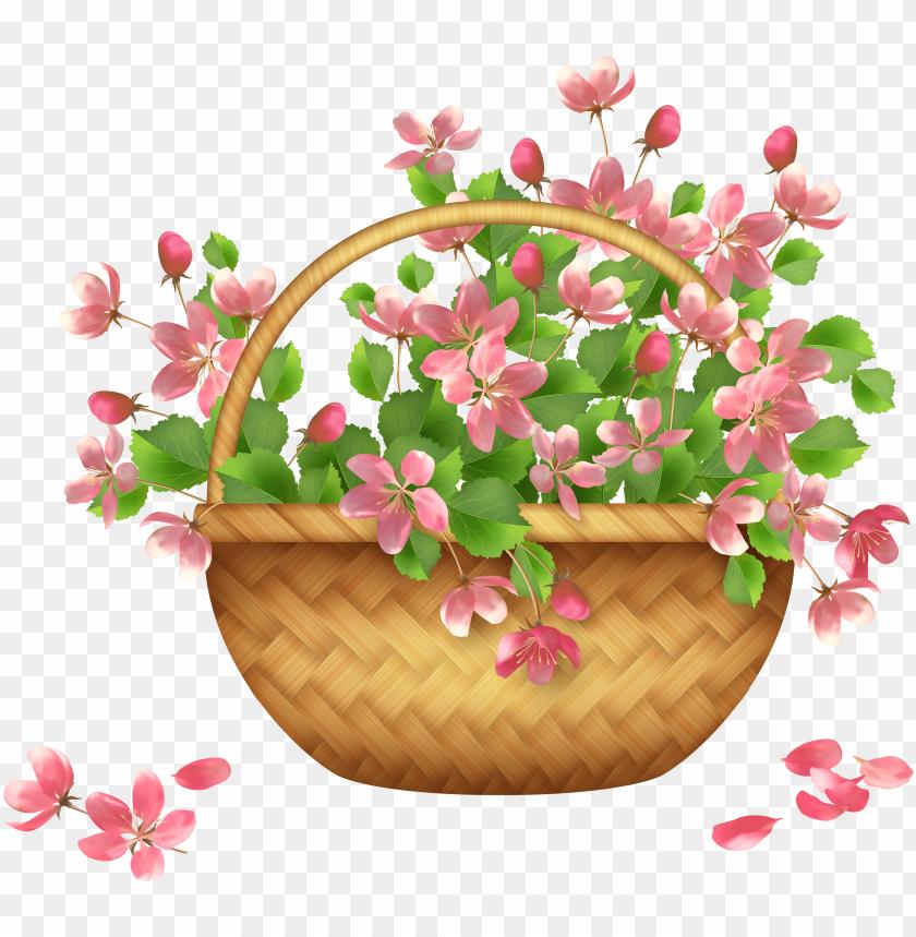 free PNG spring flower basket png clipart - flower basket clipart PNG image with transparent background PNG images transparent