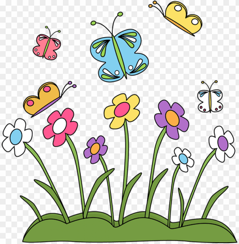 free PNG spring flowers and butterflies clip art - clipart of spring seaso PNG image with transparent background PNG images transparent