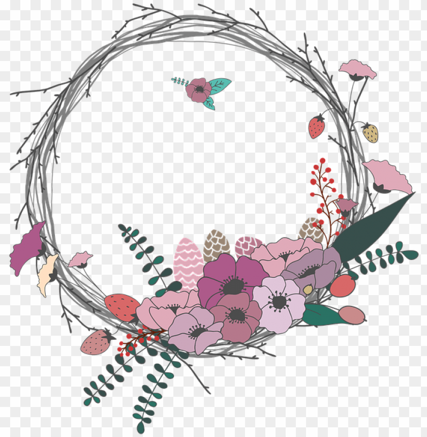 Spring Wreath Clipart Transparent Gambar Lingkaran Bunga Png