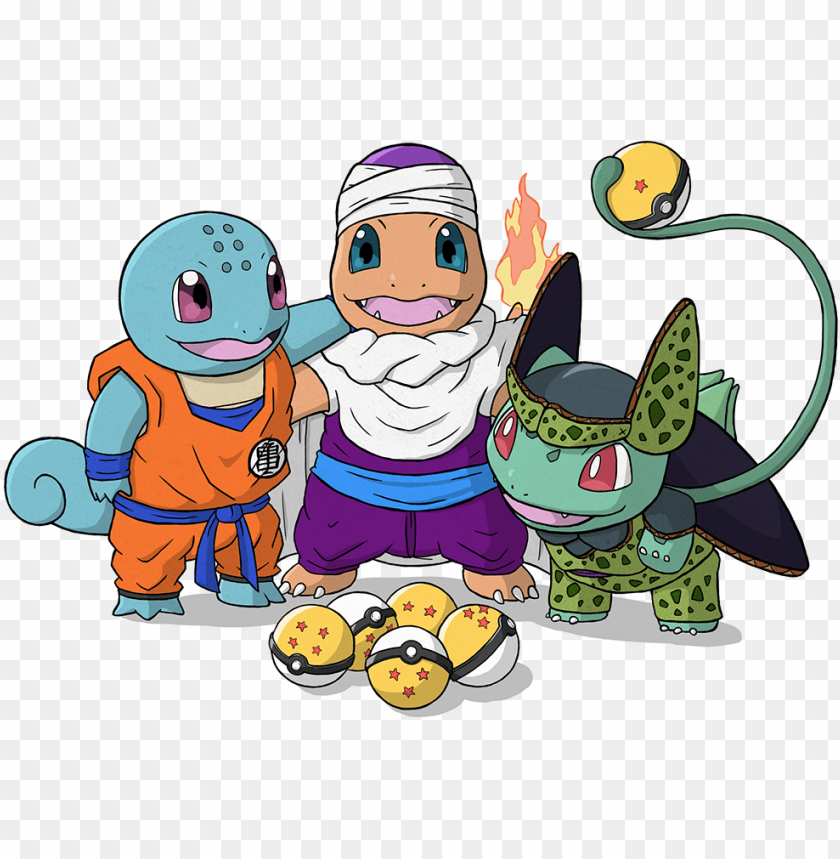 free PNG squirtle as krillin, charmander as piccolo, bulbasaur - squirtle krillin piccolo charmander and bulbasaur cell PNG image with transparent background PNG images transparent