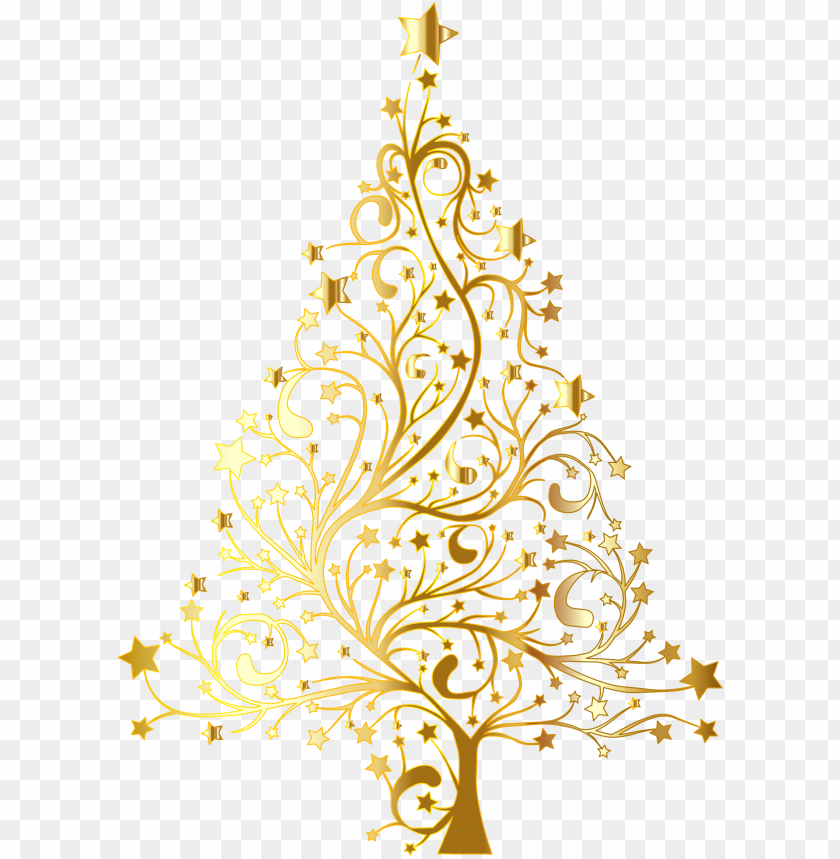 free PNG starry christmas tree gold no background - gold christmas tree vector PNG image with transparent background PNG images transparent