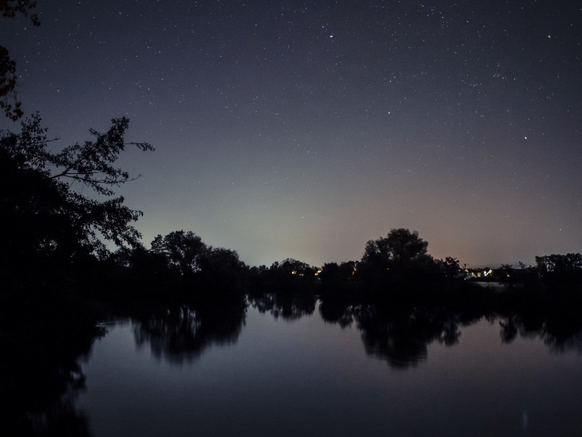 free PNG starry sky, lake, night, landscape, trees, horizon background PNG images transparent