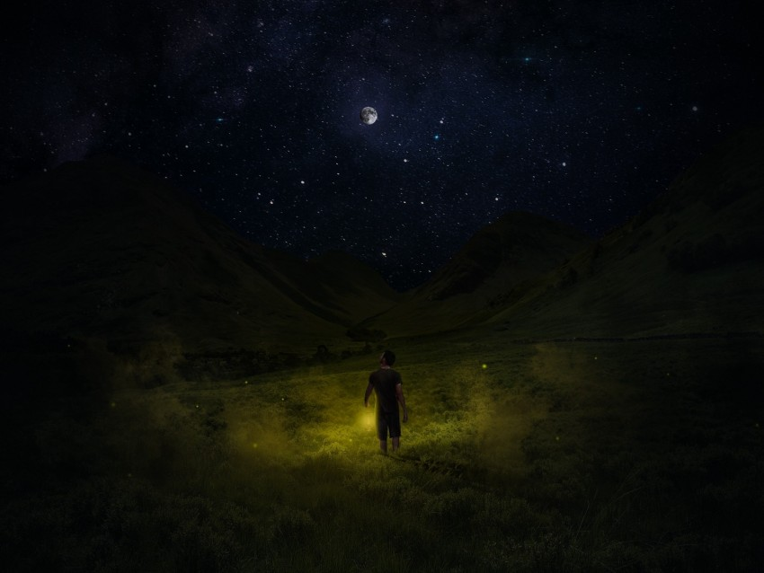 free PNG starry sky, man, night, field, sky, grass background PNG images transparent