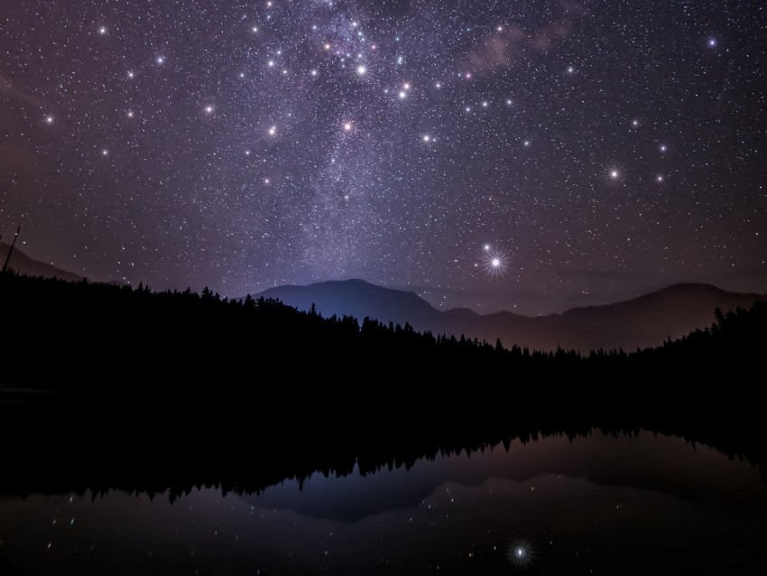 free PNG starry sky, trees, mountains, night, stars, forest, shine, sky background PNG images transparent