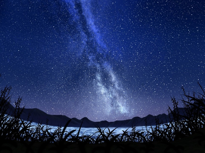 free PNG stars, starry sky, milky way, art, night, sky, grass background PNG images transparent