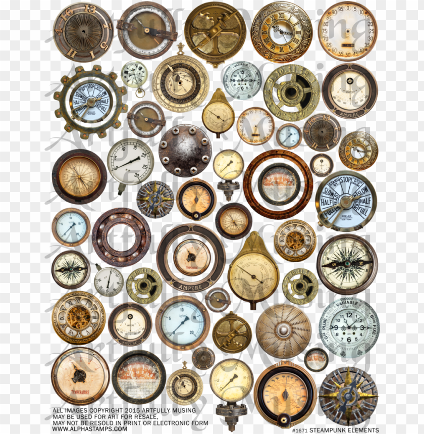 free PNG steampunk elements collage sheet - collage PNG image with transparent background PNG images transparent