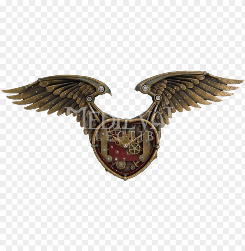 free PNG steampunk winged heart clock - steampunk winged heart clock statue cold cast resi PNG image with transparent background PNG images transparent