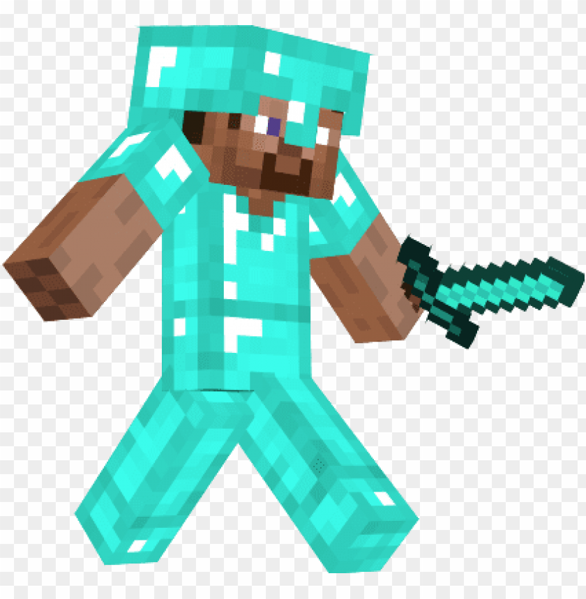 Steve With Diamond Armor Minecraft Steve With Diamond Sword Png Image With Transparent Background Toppng