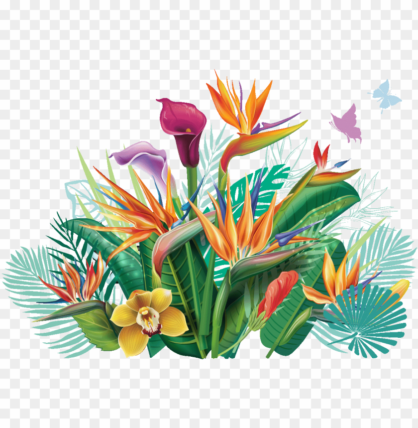 free PNG sticker eventail de fleurs tropicales ambiance sticker - tropical leaf PNG image with transparent background PNG images transparent