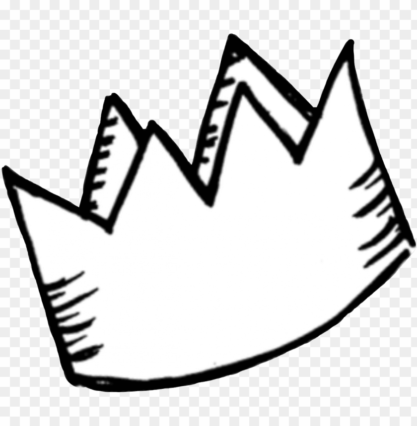free PNG sticker png tumblr white crown cute aesthetic royalty - doodle crown PNG image with transparent background PNG images transparent