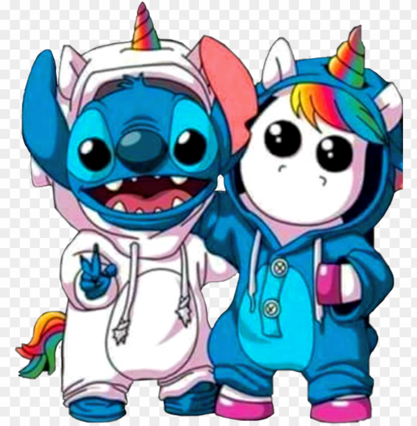 Sticker Stitch Unicorn Unicornio Rainbow Arcoiris Kawaii Dabbing