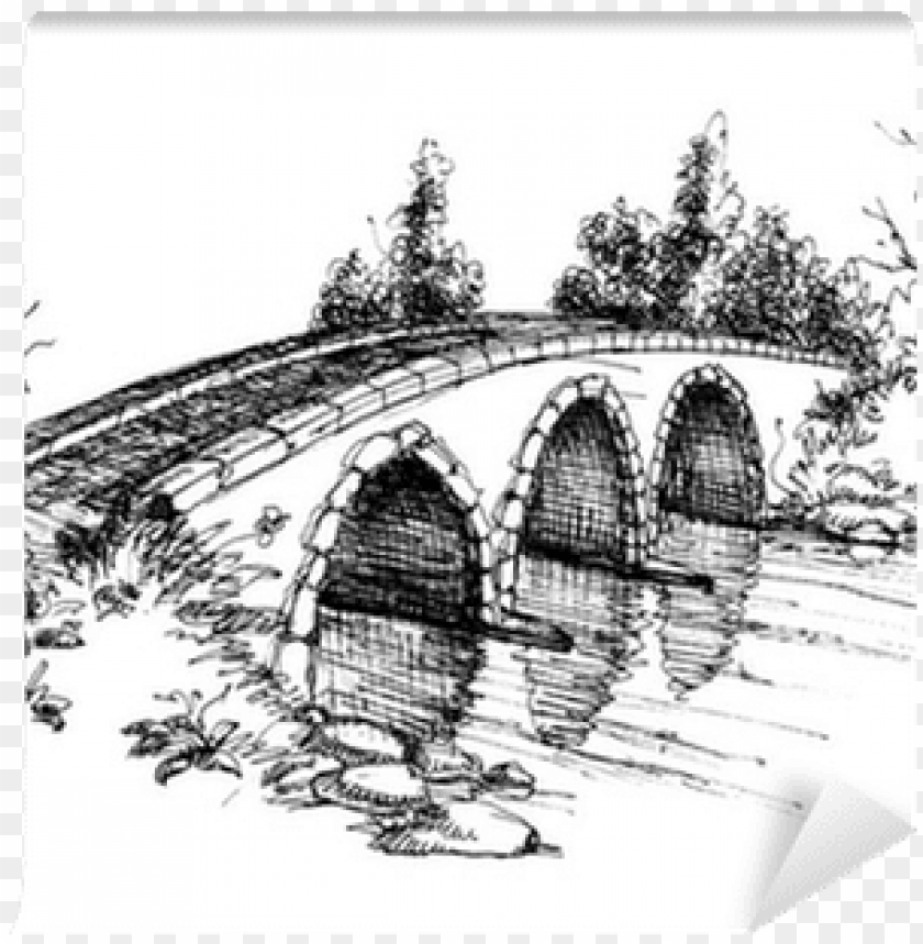 free PNG stone bridge over river sketch wall mural - bridge sketch PNG image with transparent background PNG images transparent