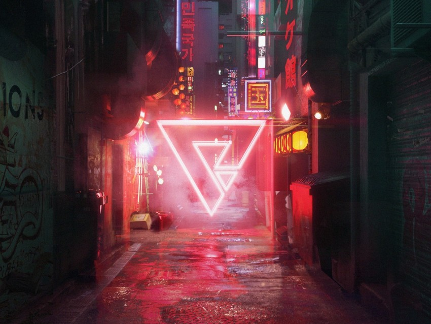 street, triangle, cyberpunk, neon background | TOPpng
