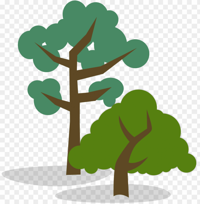 free PNG stylized illustration of one tall and one short tree - tall tree short tree PNG image with transparent background PNG images transparent