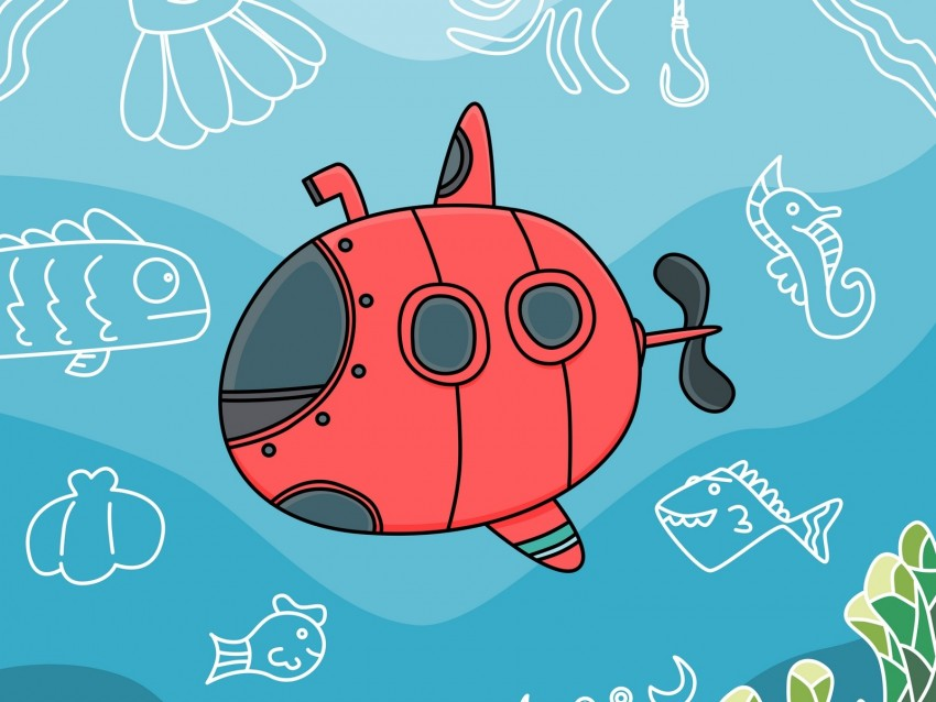 free PNG submarine, fish, depth, art, vector background PNG images transparent