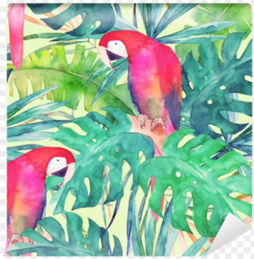 free PNG summer seamless pattern with watercolor parrot, palm - watercolor painti PNG image with transparent background PNG images transparent