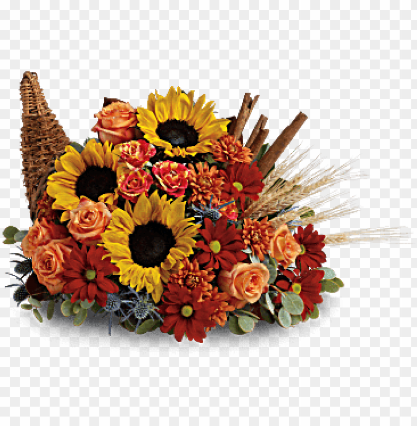 free PNG sunflowers and orange roses are accented with blue PNG image with transparent background PNG images transparent