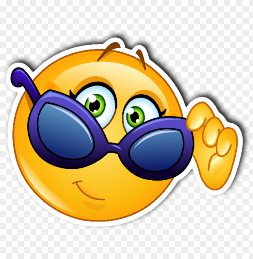 free PNG sunglasses smiley emoji vinyl die cut sticker - girl emoji with sunglasses PNG image with transparent background PNG images transparent