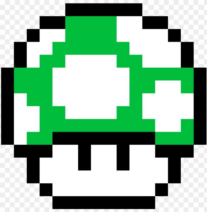 Super Mario Bros Green Mushroom Mario Bros Pixel Png Image With