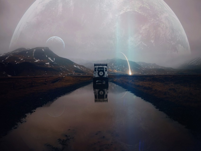 free PNG suv, mountains, water, landscape, alien, traveling, meteorite, reflection, photoshop background PNG images transparent