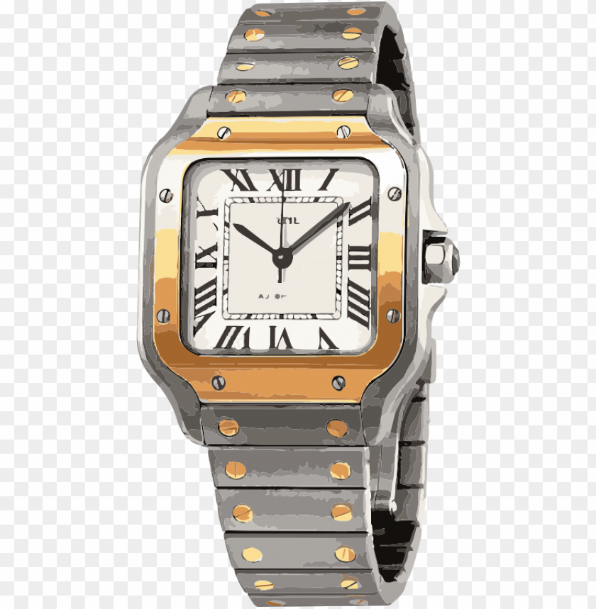 free PNG swiss watch in white gold and yellow gold with screws - cartier tank solo PNG image with transparent background PNG images transparent