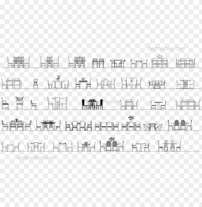 Tables And Chairs Elevation Dwg Cad Blocks Free Download Table