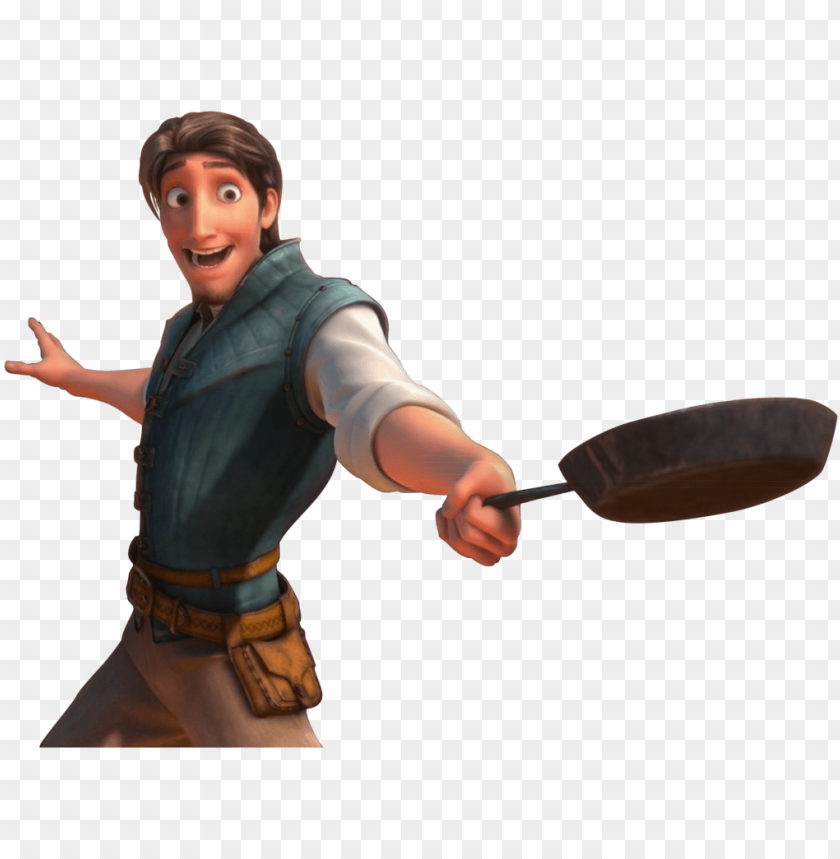 Tangled Flynn Rider With The Frying Pan Happy Png Flynn Rider Png Image With Transparent Background Toppng
